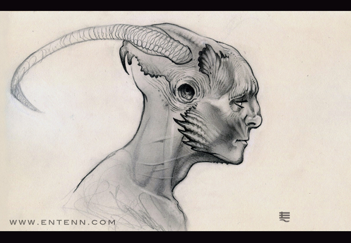 Horned alien faun thing sketch by Entenn