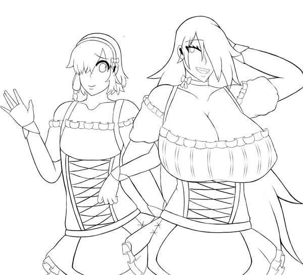 Kitsune and Akane Rough Sketch by SimsterD