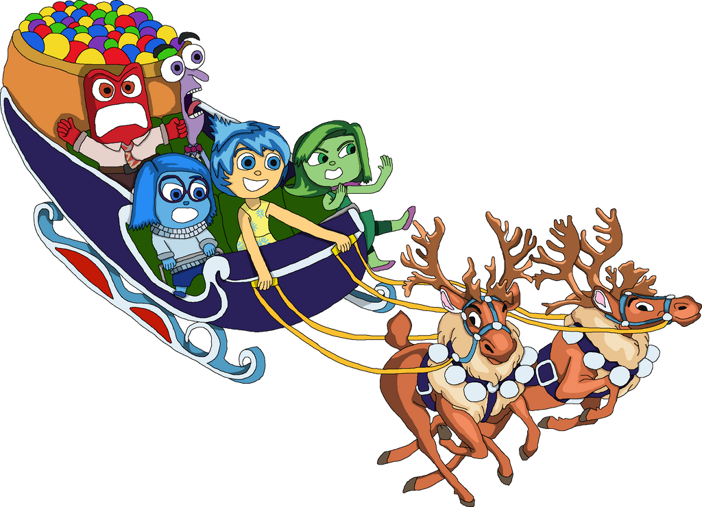 Inside Out emotions in a festive sleigh riding by EricVonSchweetz ...