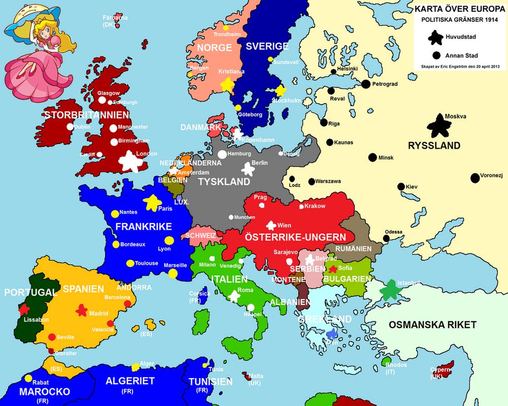 Drawned map of Europe 1914 by EricVonSchweetz on DeviantArt