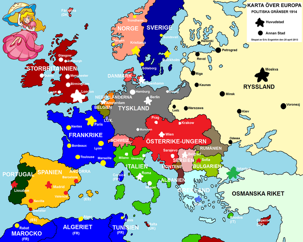 Drawned map of Europe 1914 by EricVonSchweetz on DeviantArt