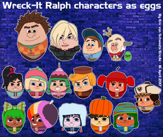 Wreck-It Ralph characters as eggs by EricVonSchweetz