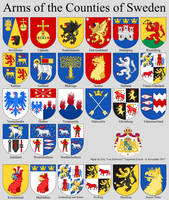 Arms of the Counties of Sweden by EricVonSchweetz