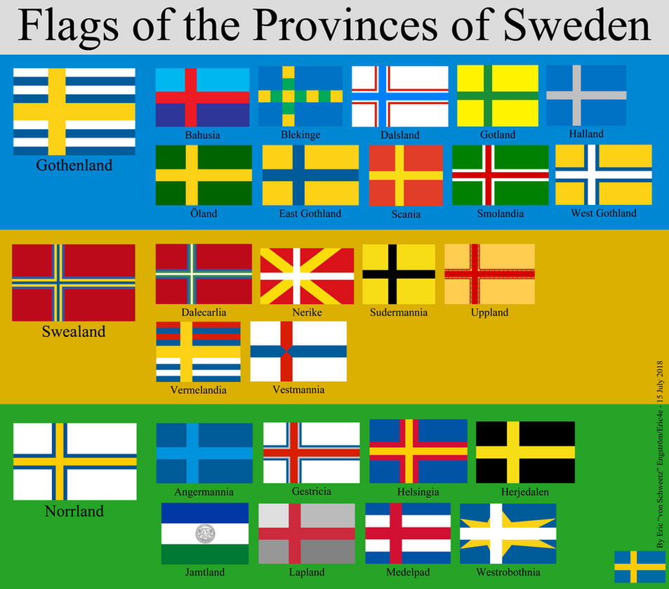 Flags of the Provinces of Sweden by EricVonSchweetz