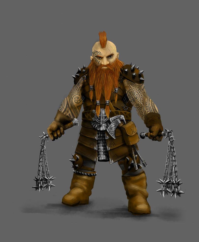 Dwarf warrior concept by Schnedler