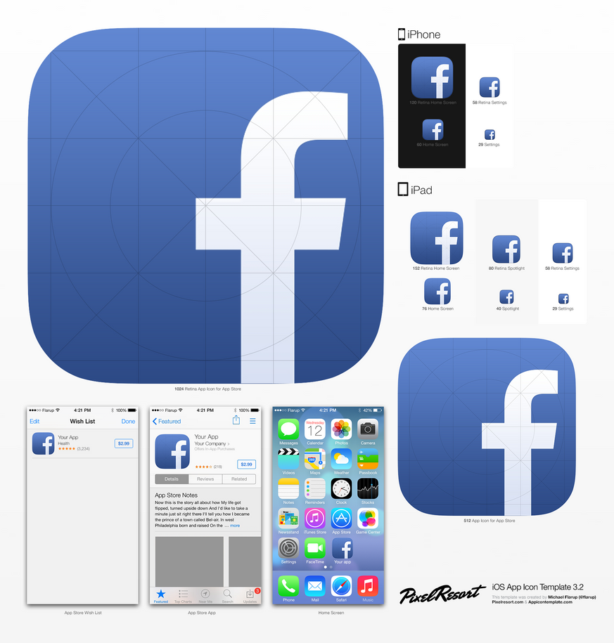 iphone app logo template - ios7 facebook icon by betty02 on deviantart