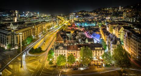 Stuttgart City by Night wide angel version