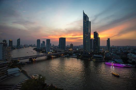 Sunset mood over Bangkok
