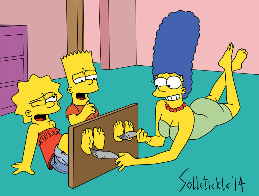 Marge tickles Bart and Lisa by solletickle