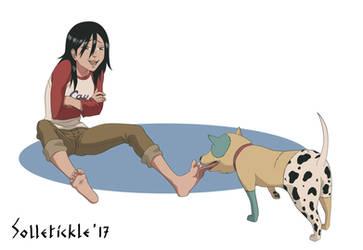 Beck licking and tickling Maho's feet