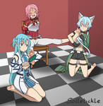 Commission: Lisbeth tickled by Asuna and Sinon