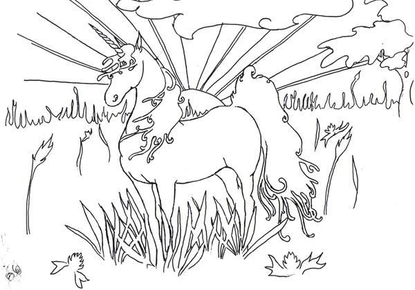 Unicorn Colouring Page by der-finn on DeviantArt