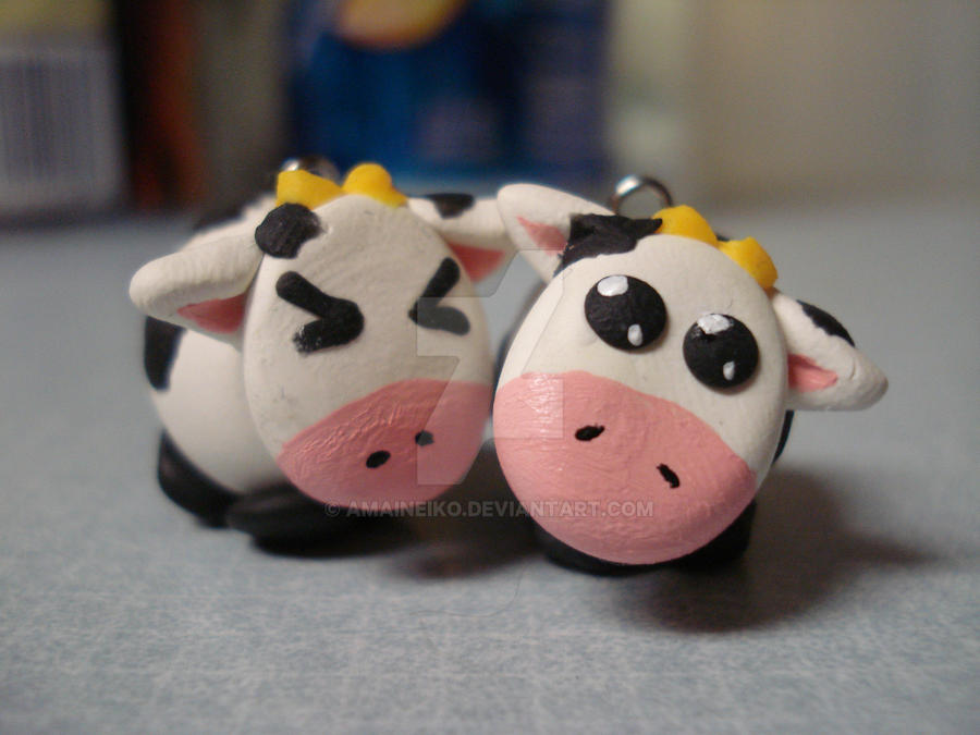 Sculpey Clay Cow Charms by AmaiNeiko