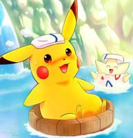 Floating Pikachu by Vermeilbird