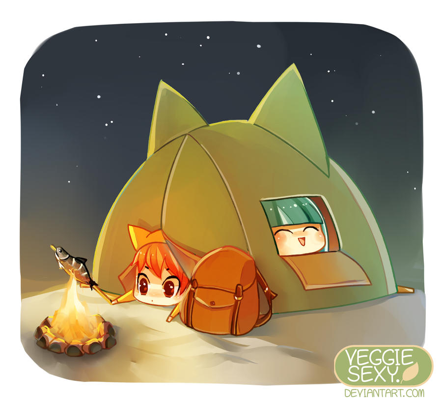 lets camping meoww by VeggieStudio