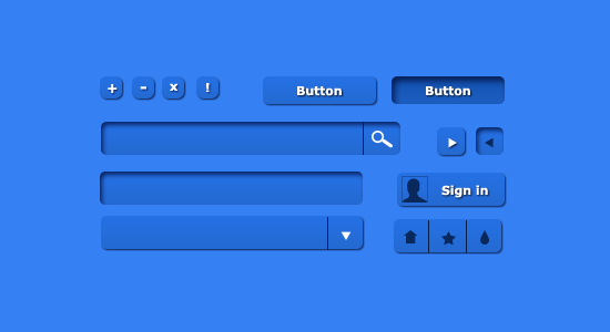 Blue UI Kit Set PSD by terrenceforever