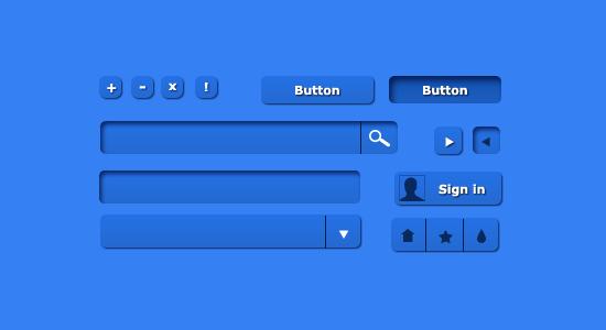 Blue UI Kit Set PSD