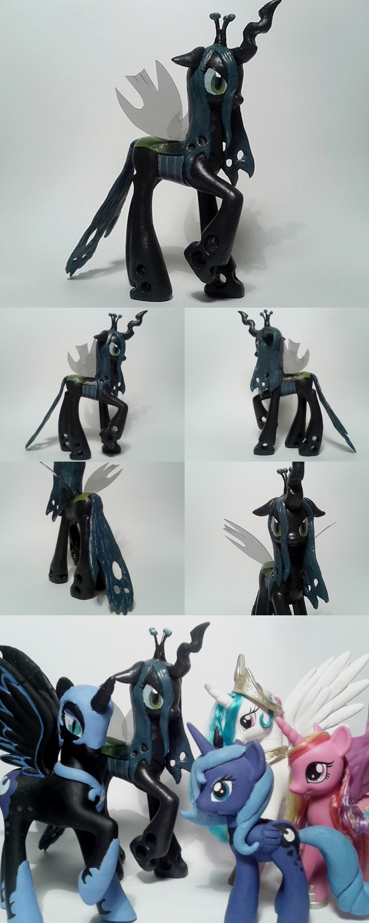 Queen Chrysalis G4 custom Pony w/ temp. Wings by Oak23