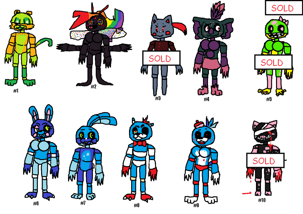 FNAF Adopts compilation -- SALE! Cheaper than ever by SonicLover1523
