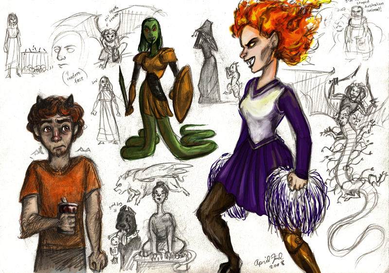 Kampe Percy Jackson Grover and girls by ky...