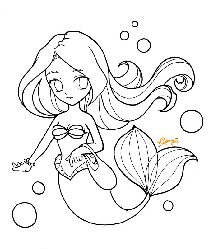chibi pretty mermaid coloring pages - photo#11