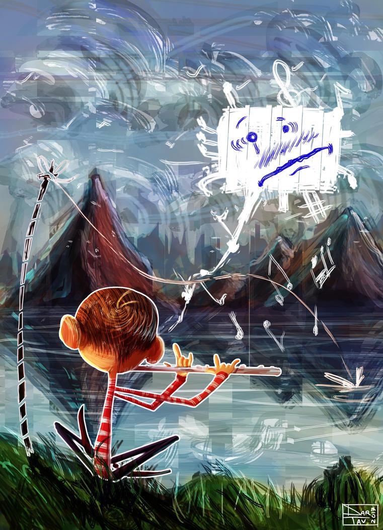 Sad music at lake... by Darhendartav