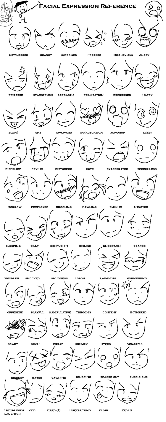 Anime Expressions Reference by oreokeki on DeviantArt