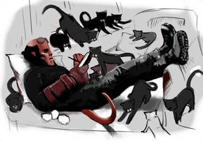 Hellboy and his cats. by Szikee