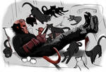 Hellboy and his cats.