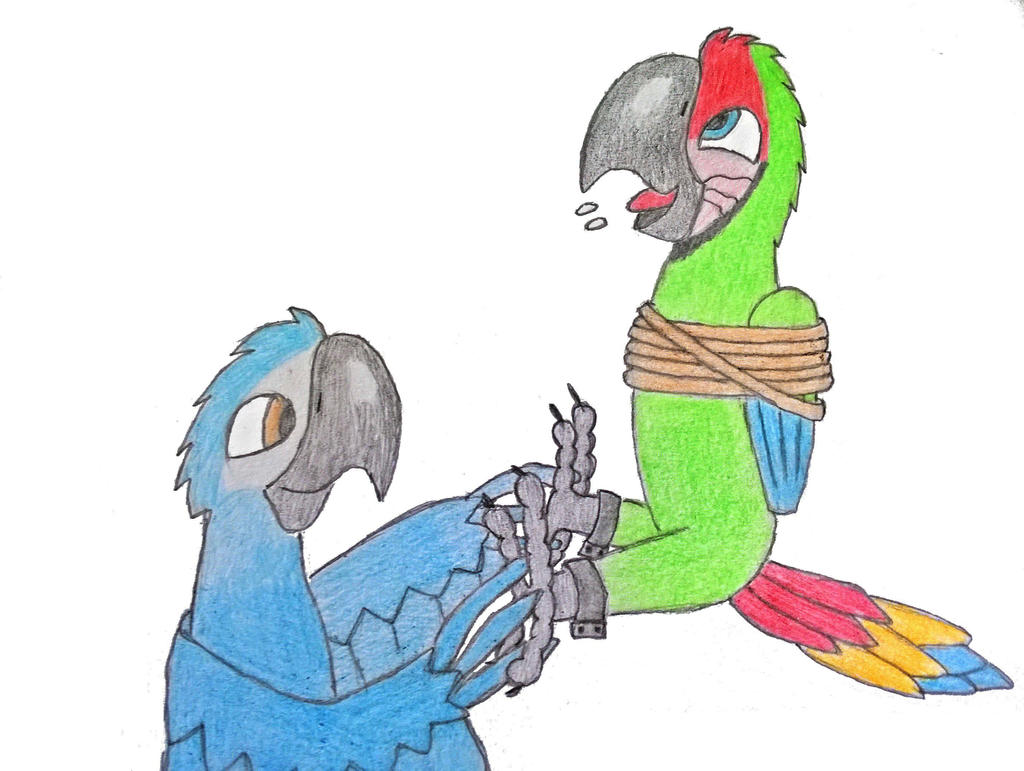 Great green macaw tickled by Trela1