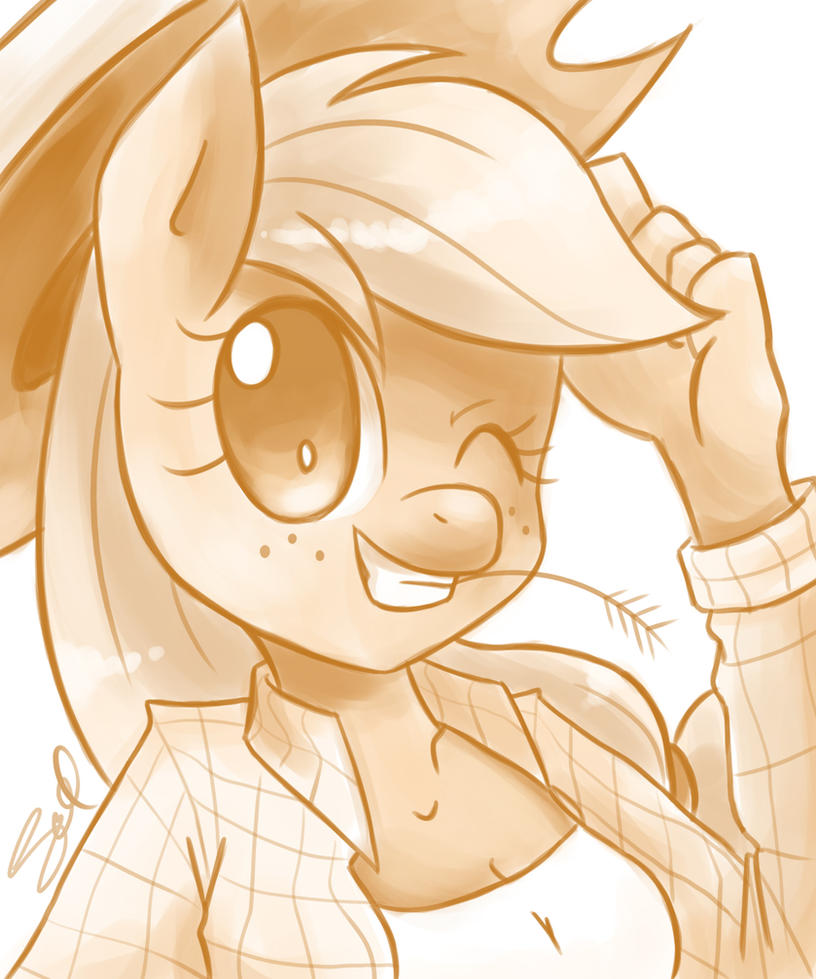 Anthro Applejack by steffy-beff