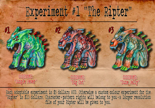 Experiment 1 The Ripter Batch 1 Adoptables