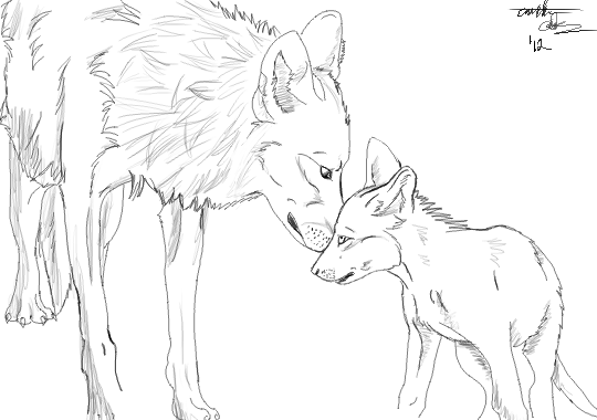 Mother and pup by WolfWorkBases