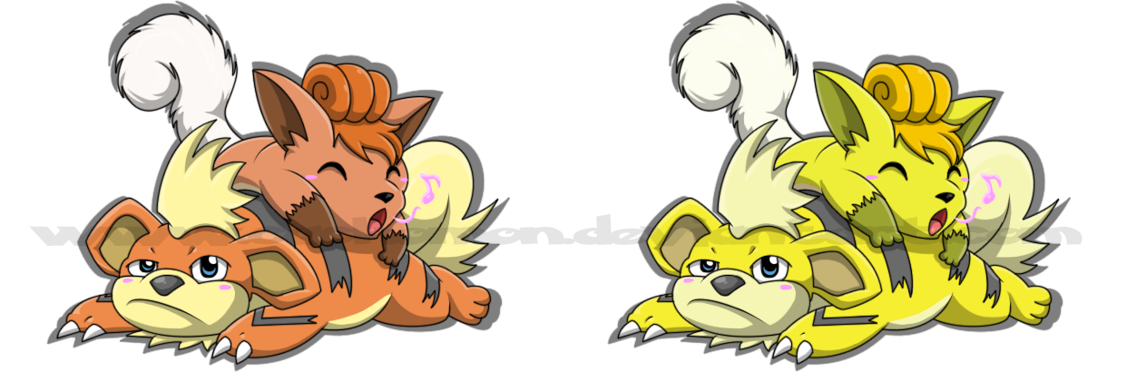 Eevee And Vulpix Fanfiction Growlithe + vulpix by cachomon
