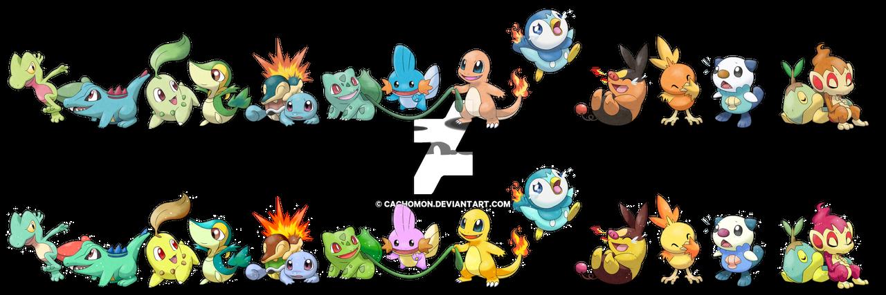 All Pokemon Starters + Shiny by Cachomon on DeviantArt