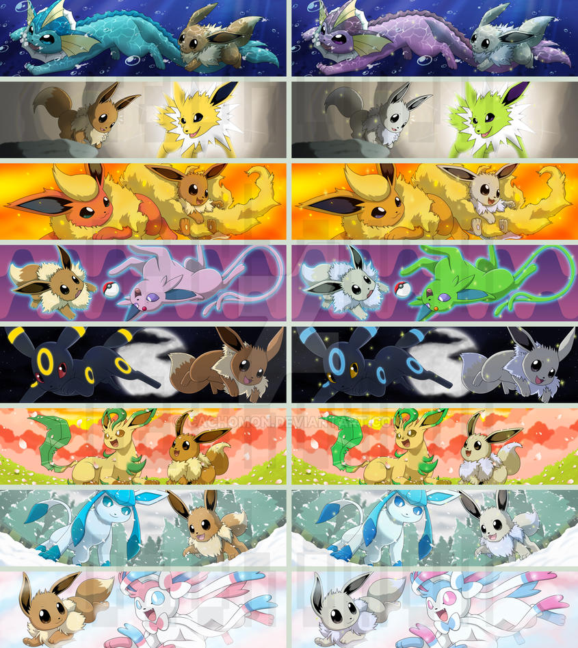Eevee + All evolutions Bookmarks (FOR SALE!) by Cachomon