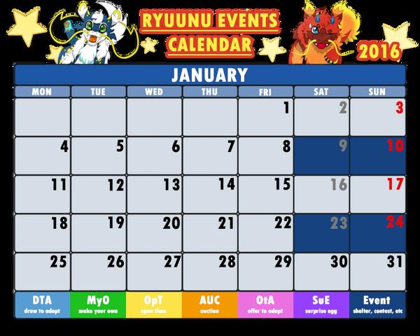 Event Calendar 2016 : Ryuunu events calendar january by cachomon on