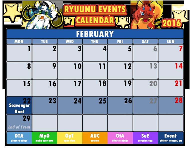 Art Event Calendar : Ryuunu events calendar february by cachomon on
