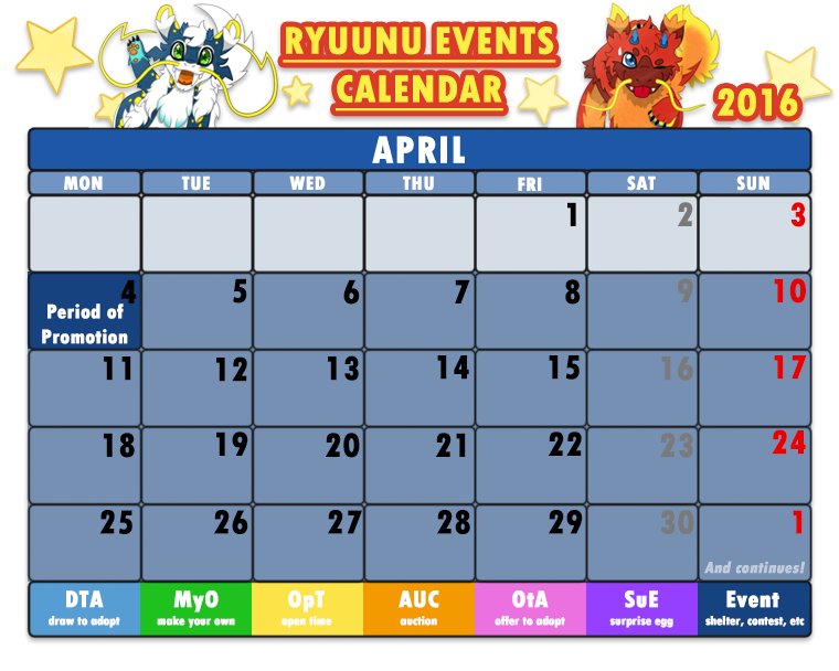 Calendar April Events : Ryuunu events calendar april by cachomon on deviantart