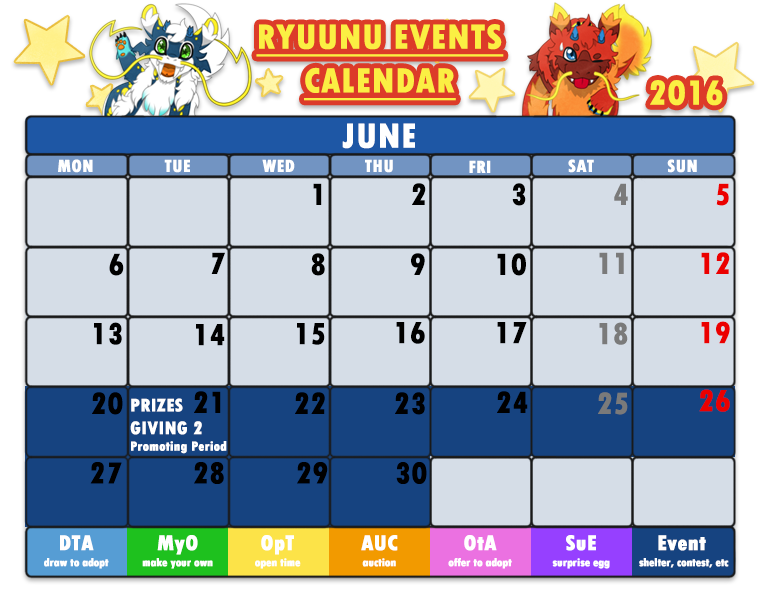 June Calendar Events : Ryuunu events calendar june by cachomon on deviantart