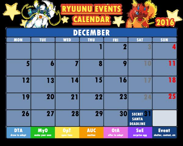 Event Calendar 2016 : Ryuunu events calendar december by cachomon on
