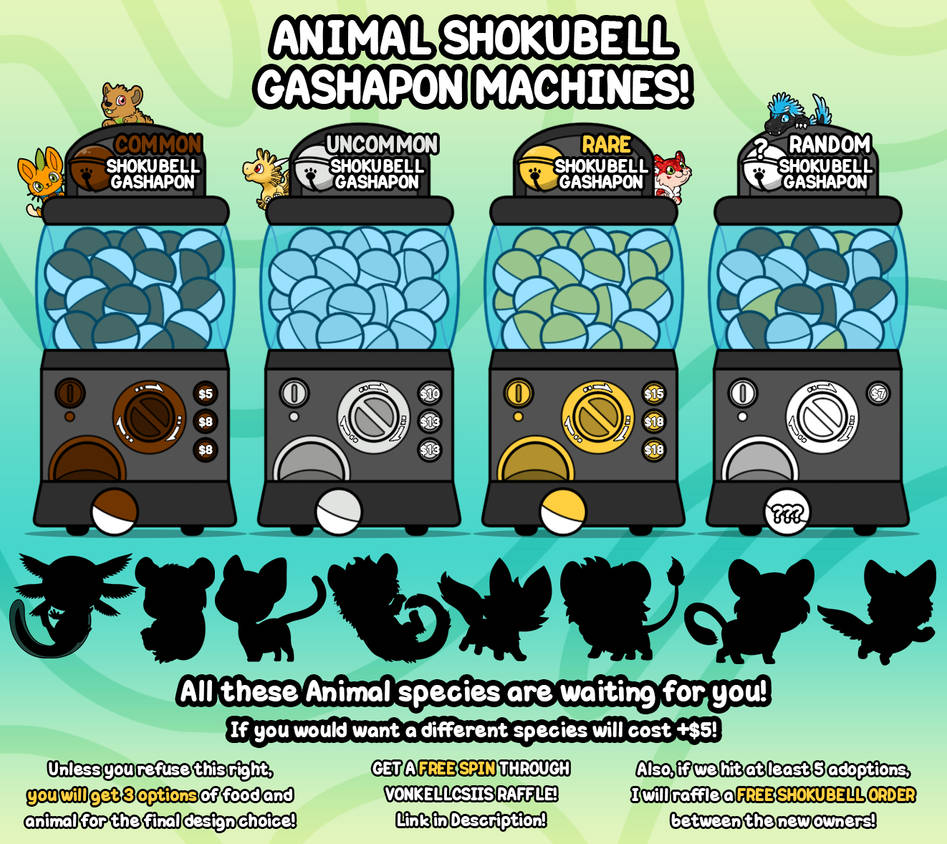 SHOKUBELL EVENT 3 - ANIMAL GASHAPONS! [CLOSED] by Cachomon