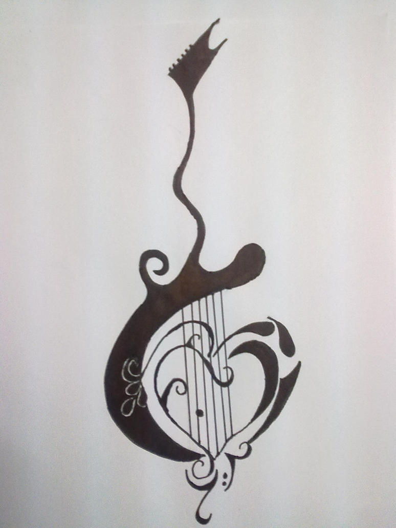 Guitar tattoo by gamerextremerAcoustic Guitar Drawing Tattoo