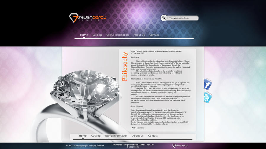 Web Design 7Carat jewelry by Koshelkov on DeviantArt