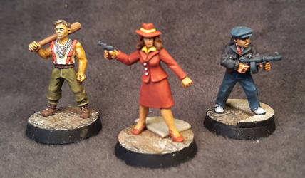 Pulp Alley Figures - Carmen, Jack, and Bugsy