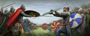 The Saxons fight the Carolingians in open battle.