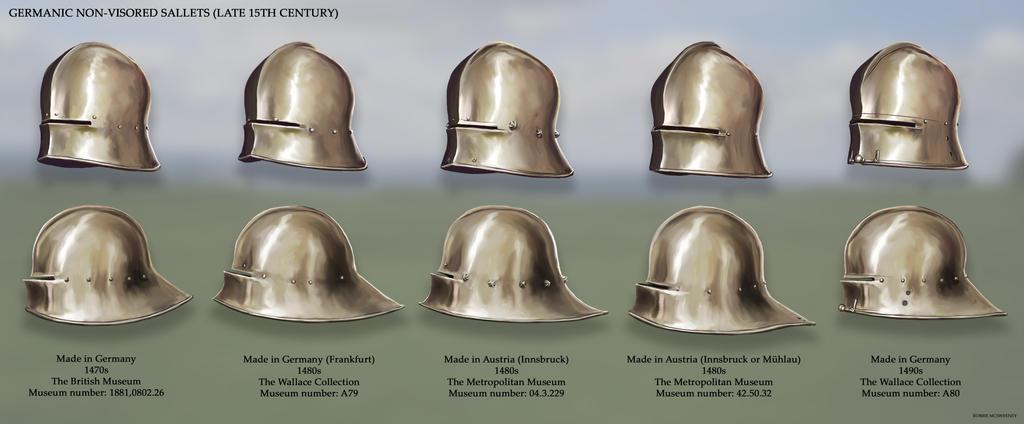 Germanic Non-Visored Sallets (late 15th Century) by RobbieMcSweeney