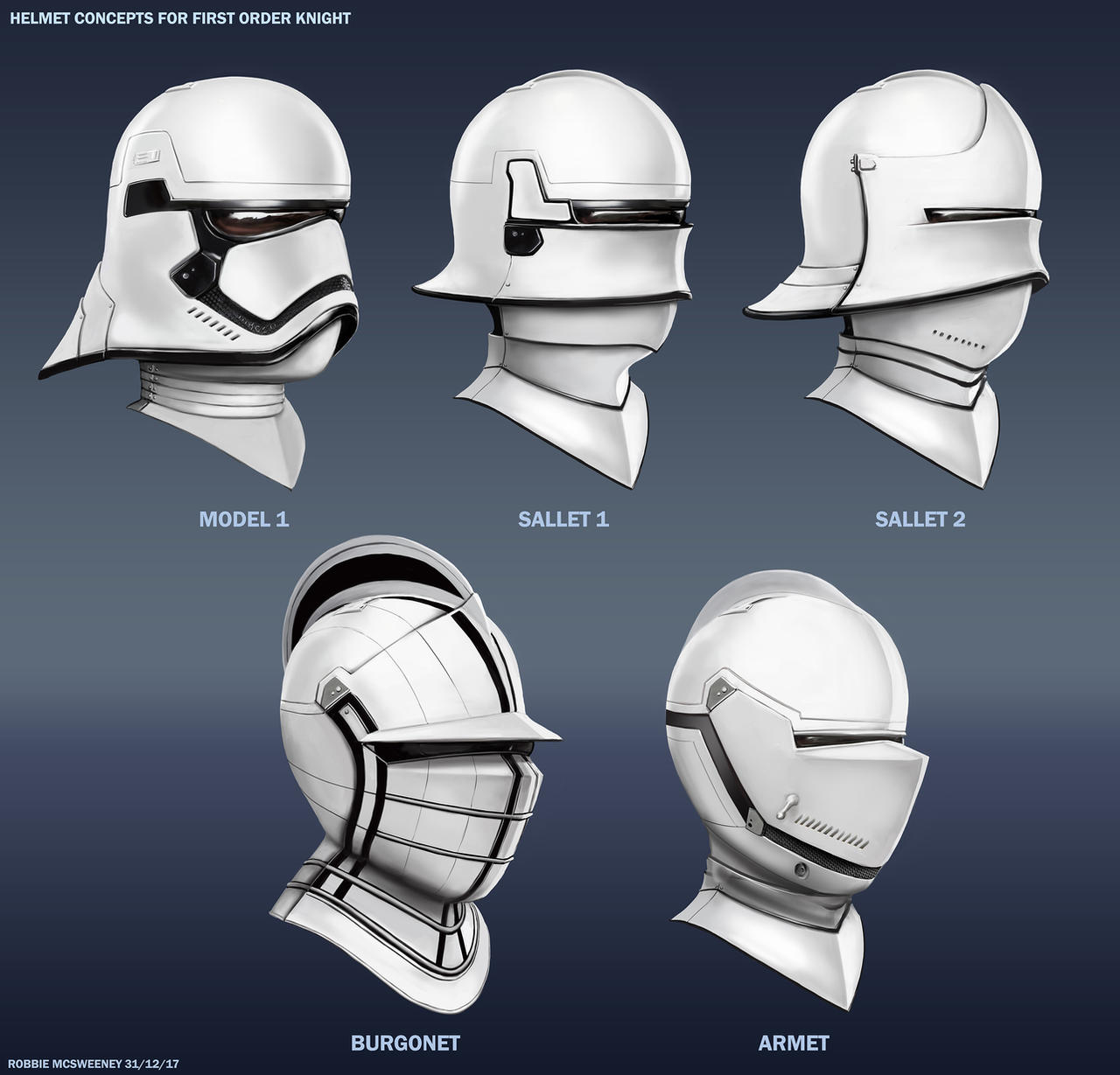 Helmet Concepts for First Order Knight by RobbieMcSweeney on
