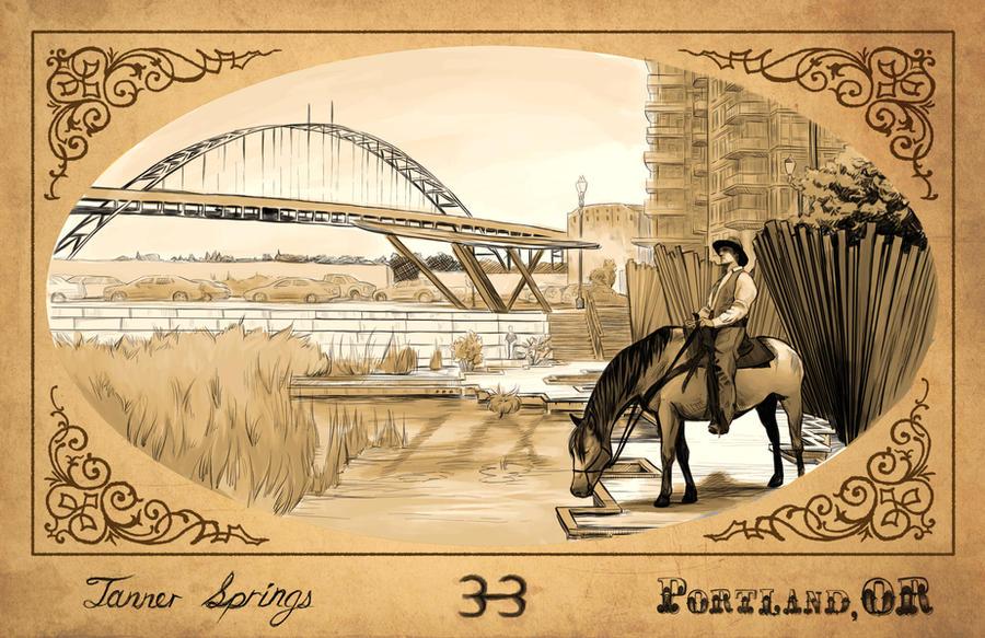 Tanner Springs, Portland Oregon Postcard by blindthistle on
