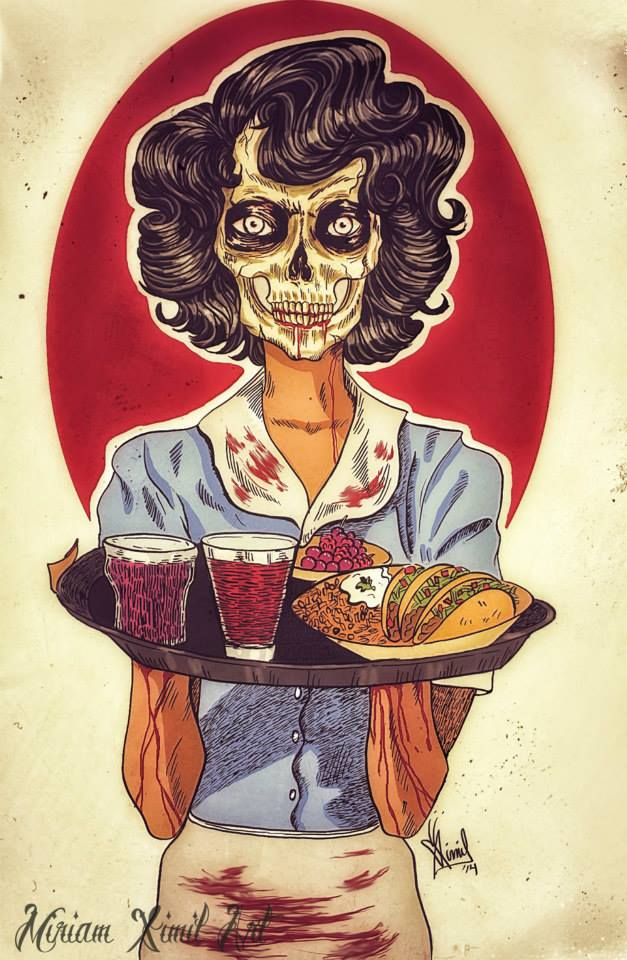 The Skull Waitress- soul sucking food industry by MariaMiriam311